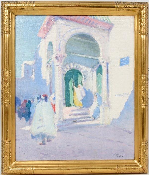 082008: JULIUS ROLSHOVEN OIL ON ARTIST BOARD, TUNIS