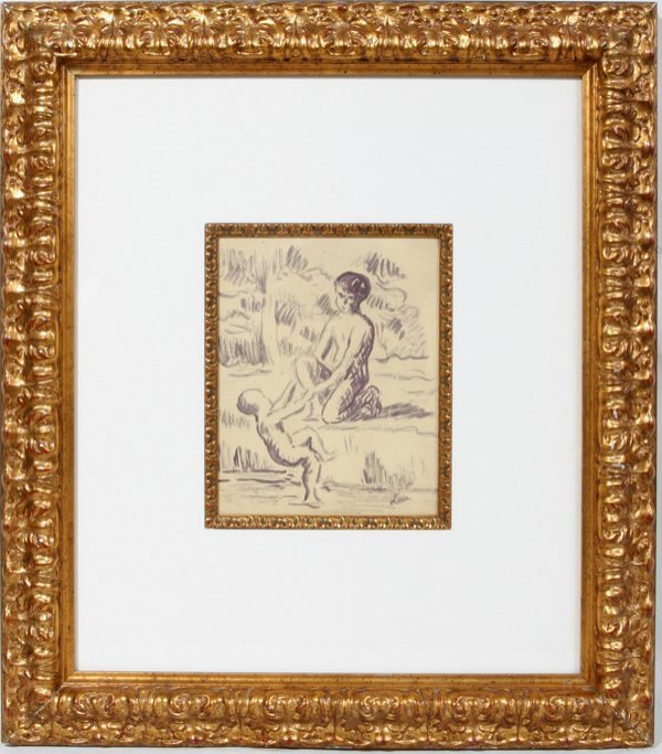 """082012: MAX LUCE, INK DRAWING 9"""" X 7"""" TWO BOYS PLAYING"""