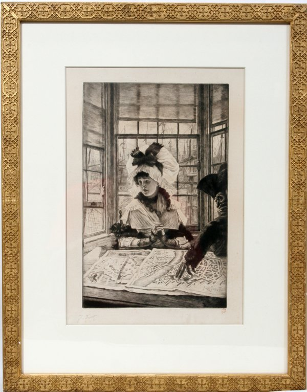 082013: JAMES JACQUES TISSOT, DRYPOINT ETCHING, 1878,