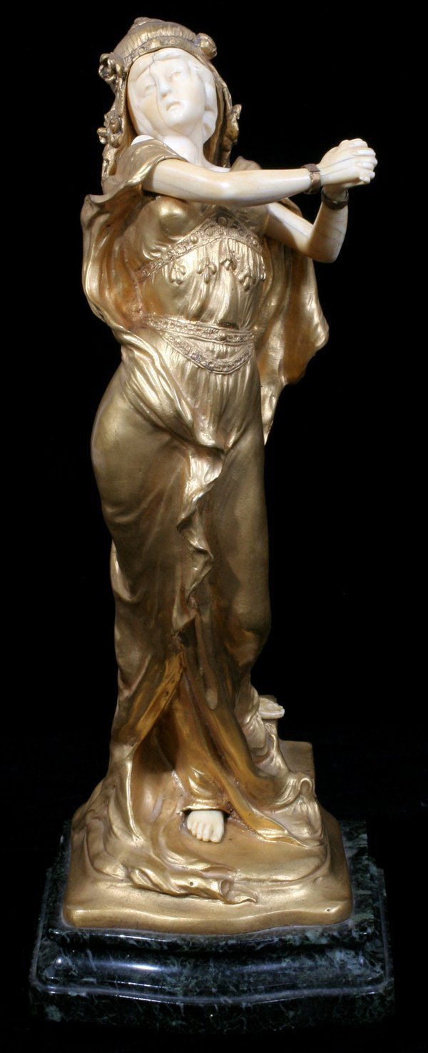 082018: THEOPHILE SOMME, GILDED BRONZE SCULPTURE EXOTIC