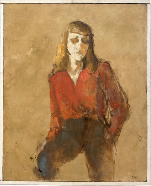"082021: SARKIS SARKISIAN OIL/CANVAS ""BLOND GIRL W/RED"