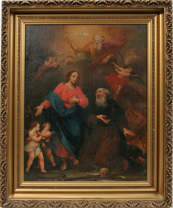 082022: OLD MASTER OIL/CANVAS/BOARD CHRIST AND SAINTS