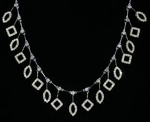TWO-TONE 18 KT. GOLD & 3.64 CT. DIAMOND NECKLAC