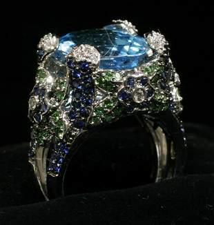 18 KT. WHITE GOLD RING, DIAMOND, GARNET, SAPPHI