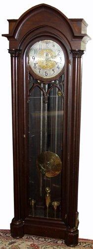 030020: MAHOGANY GERMAN GRANDFATHER CLOCK, C.1900
