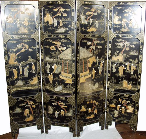 030021: JAPANESE FOUR-PANEL BLACK LACQUER SCREEN, C. 19