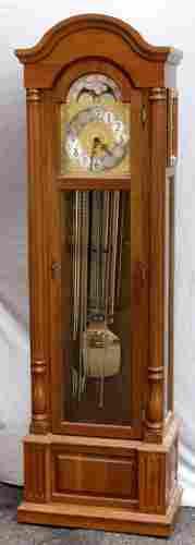 GERMAN MAHOGANY GRANDFATHER CLOCK, EMPIRE STYLE