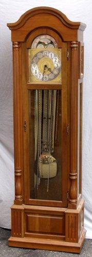 030023: GERMAN MAHOGANY GRANDFATHER CLOCK, EMPIRE STYLE