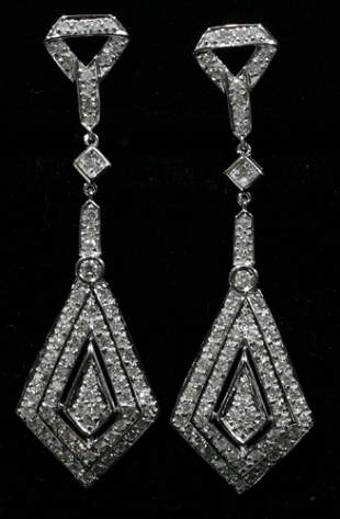 18 KT. WHITE GOLD & DIAMOND EARRINGS, PAIR