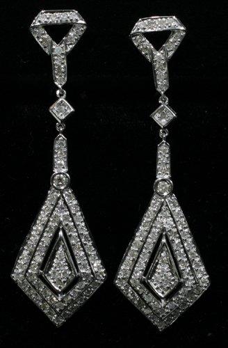 030024: 18 KT. WHITE GOLD & DIAMOND EARRINGS, PAIR