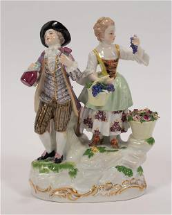 """MEISSEN PORCELAIN FIGURAL COURTING COUPLE 19TH.C. H 6"""""""