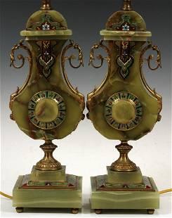 "ART DECO ONYX & CHAMPLEVE LAMPS, PAIR, H 29"", W 6"""