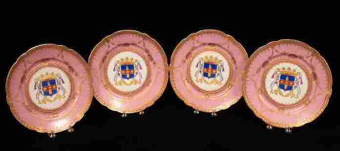 FRENCH SEVRES PORCELAIN ARMORIAL PLATES, C. 1910, 4