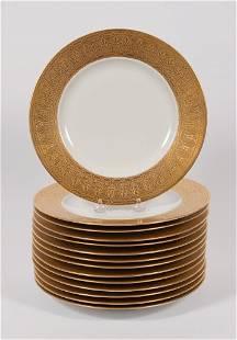 HUTSCHENREUTHER GOLD BAND SERVICE PLATES, SET OF