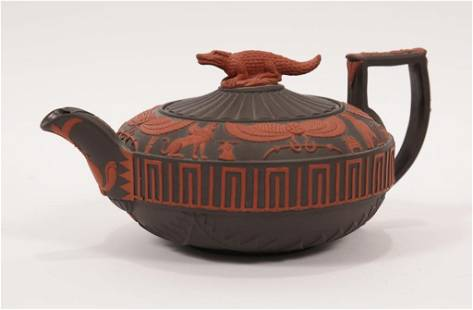 WEDGWOOD 'ROSSO ANTICO' BISQUE PORCELAIN TEAPOT, 19TH