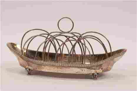 ENGLISH (LONDON) STERLING SILVER TOAST RACK, C. 1775, H