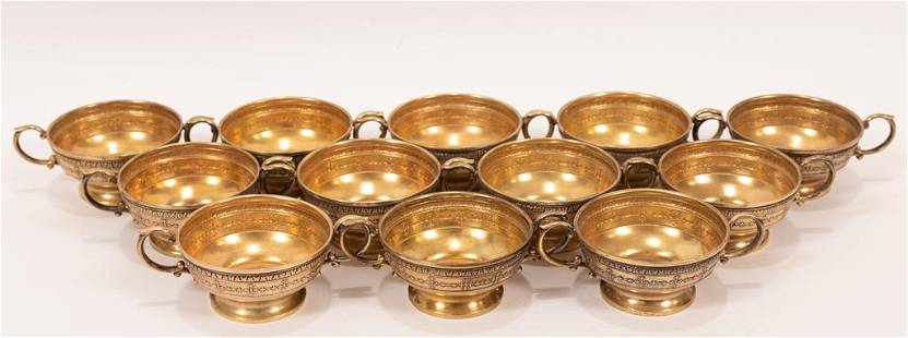 WALLACE STERLING SILVER CREAM SOUP HOLDERS, 12 PCS, H