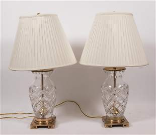 """FREDERIC COOPER, CUT CRYSTAL TABLE LAMPS, PAIR, H 29"""""""