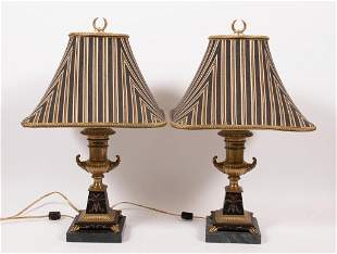 FREDERICK COOPER, BRASS AND MARBLE TABLE LAMPS PAIR H