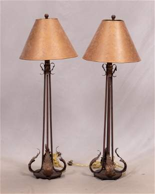 """IRON BASE TABLE LAMPS, PAIR H 40"""""""