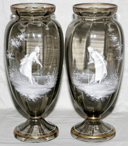 031010: VICTORIAN MARY GREGORY GLASS VASES, PAIR, H 13""