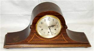 "031390: SETH THOMAS MAHOGANY MANTEL CLOCK, H 9"", W 19"""