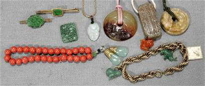 031403: CORAL & JADE JEWELRY GROUPING, NINE PIECES