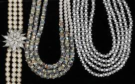 031561 MARVELLA RHINESTONE CRYSTAL  PEARL NECKLACES