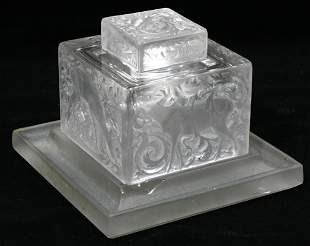 R. LALIQUE CRYSTAL INKWELL SET, C. 1930, 4 PIEC