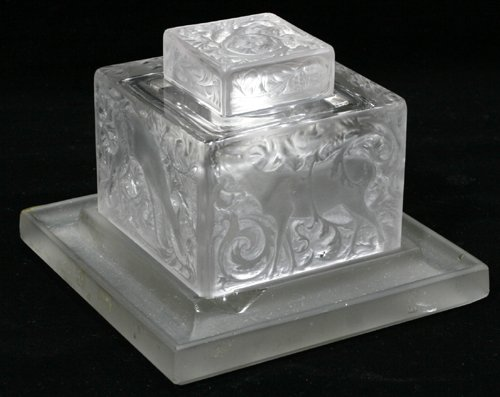032002: R. LALIQUE CRYSTAL INKWELL SET, C. 1930, 4 PIEC