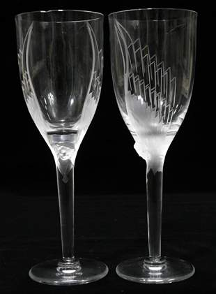 """LALIQUE CRYSTAL WINES, SET OF SIX, H 8 1/2"""""""
