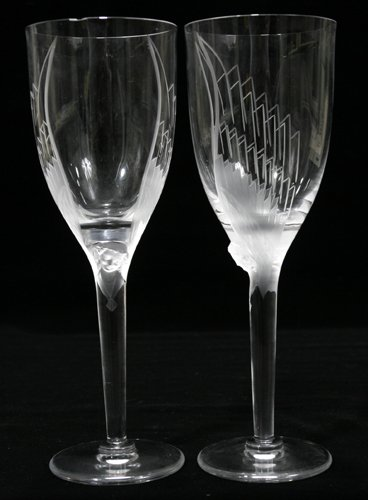"""032003: LALIQUE CRYSTAL WINES, SET OF SIX, H 8 1/2"""""""