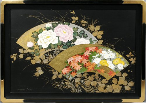 032019: TATSUO ITO, ACRYLIC, GOLD & SILVER LEAF ON CANV