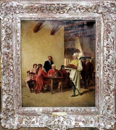 032021: EUGENE FICHEL, OIL ON WOOD PANEL, 1882