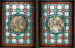 LEADED, STAINED AND JEWELED GLASS WINDOW PANES PAIR H