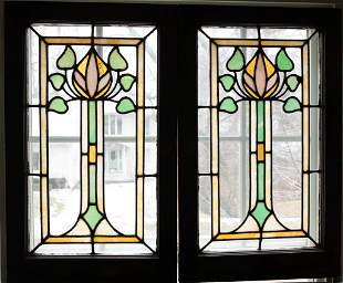 """LEADED AND SLAG STAINED GLASS WINDOW PANES PAIR H 29.5"""""""