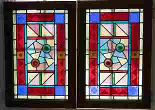 """LEADED STAINED GLASS WINDOW PANELS PAIR H 22"""" W 14"""""""