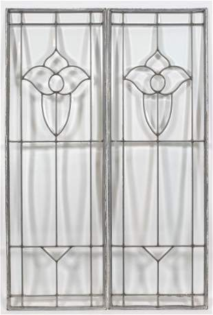 """LEADED STAINED GLASS WINDOW PANES, PAIR H 49"""" W 16"""""""