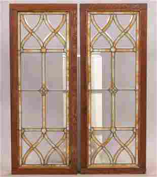 LEADED BEVELED CLEAR AND STAINED GLASS WINDOW PANES