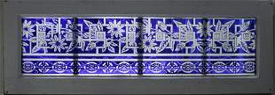 """STAINED GLASS WINDOW PANEL H 12"""" W 34"""""""