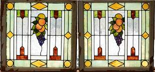 """LEADED STAINED GLASS WINDOW PANES PAIR H 26"""" W 28"""""""