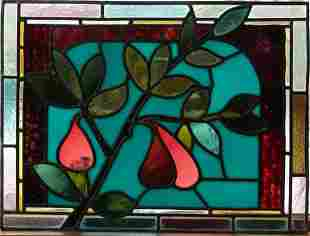 """LEADED STAINED GLASS WINDOW PANE H 15"""" W 20"""""""