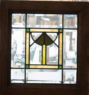 BEVELED CLEAR AND LEADED STAINED GLASS WINDOW PANE H 10