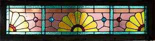 """LEADED STAINED GLASS WINDOW PANE H 9.75"""" W 47"""""""