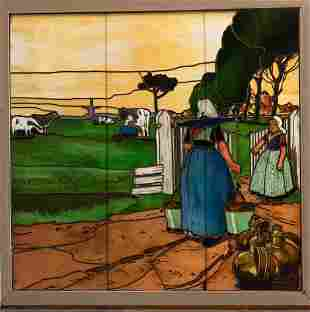 """LEADED STAINED GLASS WINDOW PANE H 51"""" W 50.5"""""""