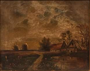 """AMERICAN FOLK ART OIL ON CANVAS, 19/20TH C, H 12"""", W"""