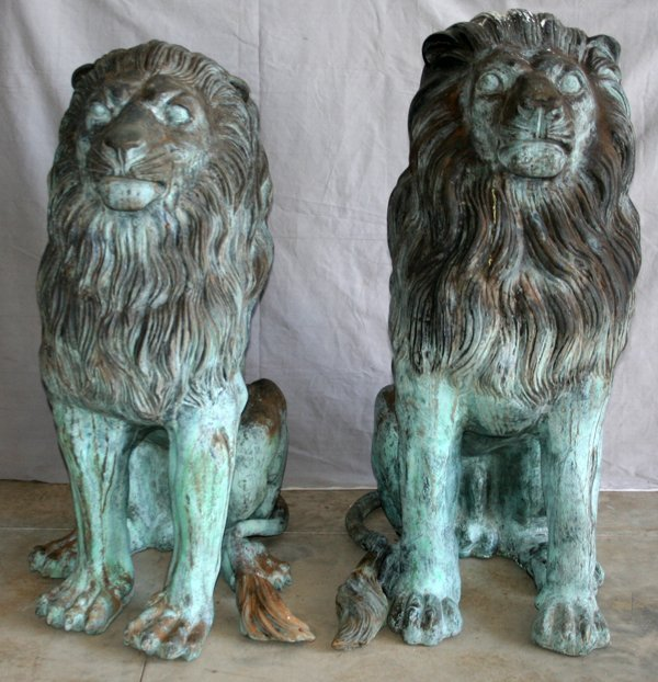 "090004: BRONZE SEATED LIONS PAIR, H 51"", W 32"", D 24"""