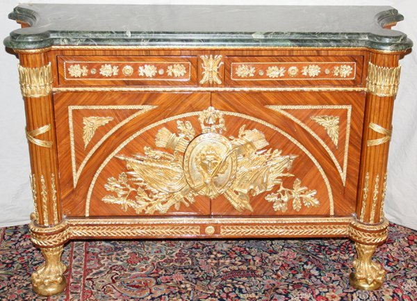 090007: FRENCH MARBLE TOP COMMODE, BRONZE ORMOLU, H 38""