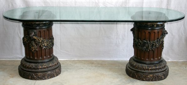 "090010: BRONZE AND GLASS SOFA TABLE H 29"", W 80"", D 30"""