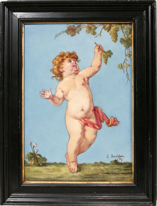 090020: E. JACOBBER PORCELAIN PAINTING, YOUNG BACCHANTE